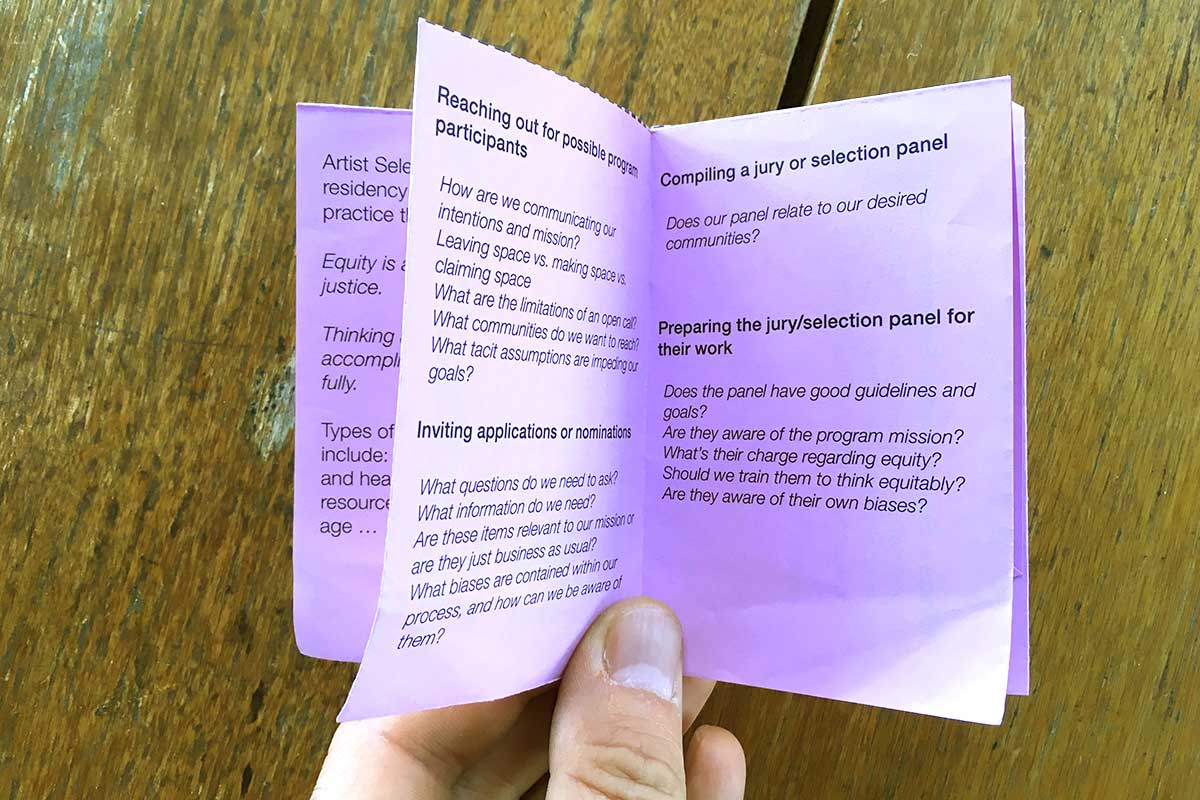 Equity in the artist selection process: a zine